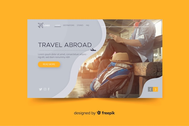 Travel abroad landing page with photo