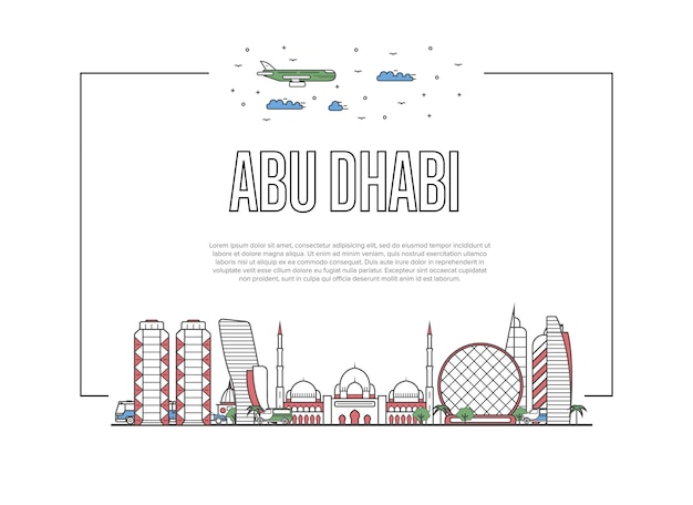 Travel abu dhabi template in linear style
