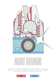 Travel abu dhabi template with camera