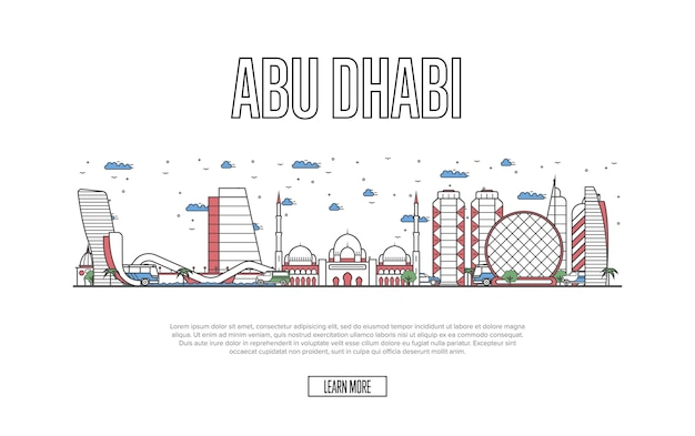 Travel abu dhabi webpage in linear style