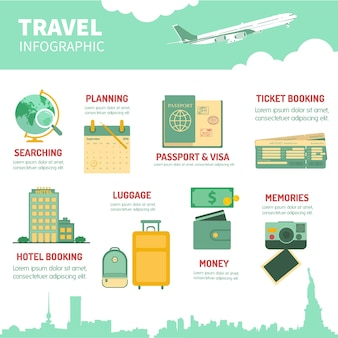 Travel accessories for infography