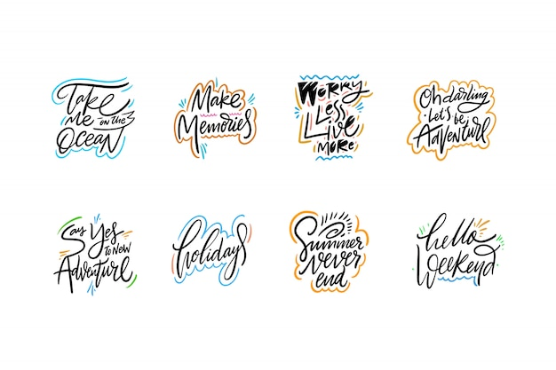 Travel and adventure lettering set.