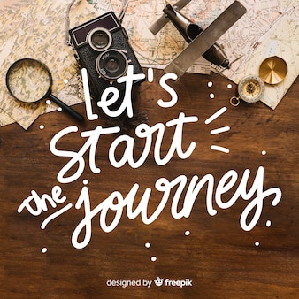 Travel and adventure lettering with photo
