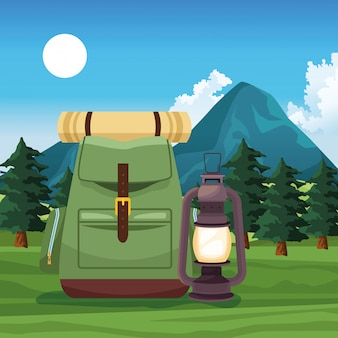 Travel and adventure in with backpack