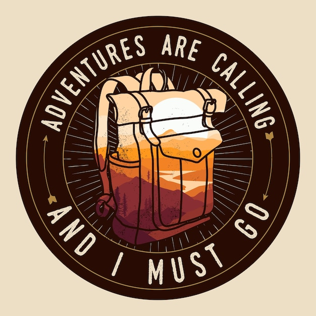 山の風景と二重露光効果のバックパックのシルエットとロゴやバッジやパッチやtシャツのデザインテンプレートの周りの旅行の冒険