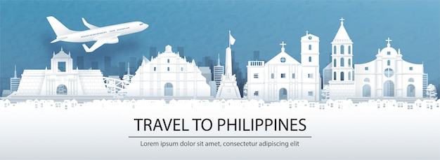 Travel advertising with travel to philippines concept with panorama view of philippines city skyline and world famous landmarks