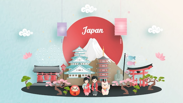 Туристическая реклама с концепцией путешествия в японию с известной достопримечательностью