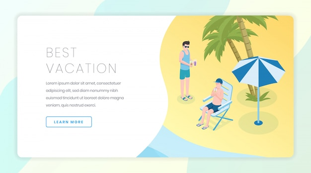 Travel agency banner template. seasonal vacation, tropical recreation website homepage interface idea with isometric illustrations.