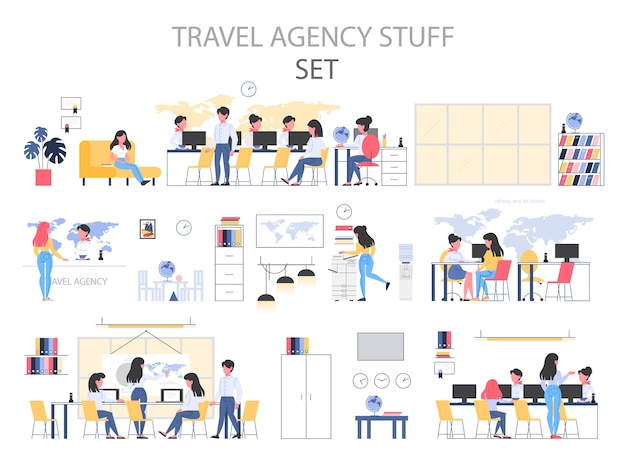 Travel agency building interior stuff set. people sitting at the desk