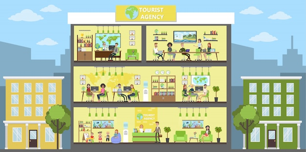 Travel agency building interior with people warking.