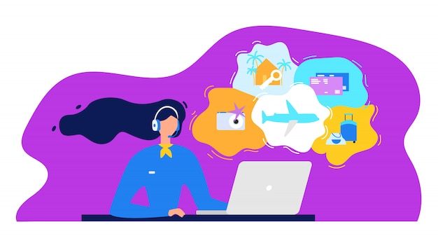 Travel agency call center flat vector concept