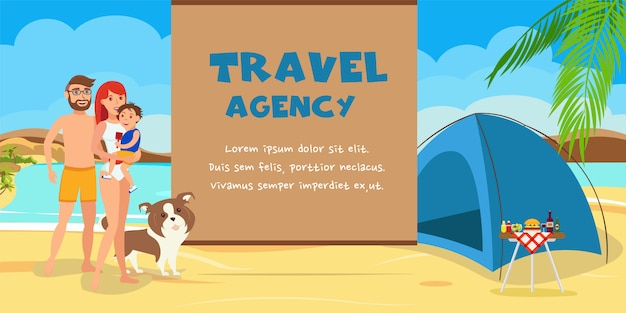 Travel agency color illustration with text.