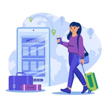 フラットなデザインのキャラクターと旅行代理店の概念図