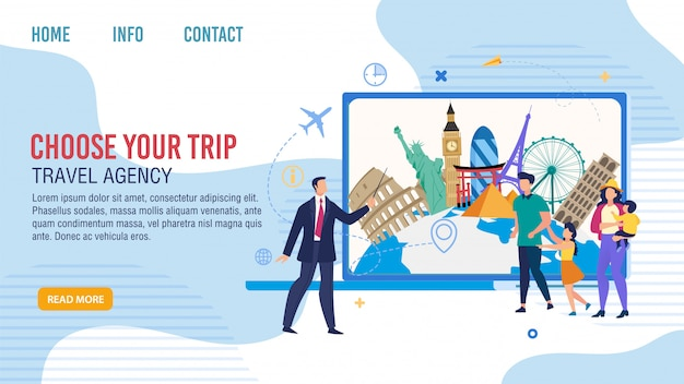 Travel agency family tour offer webpage