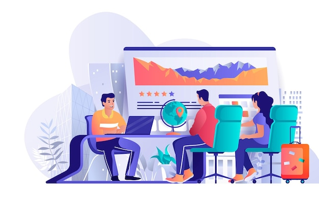 Travel agency flat design concept illustration of people characters