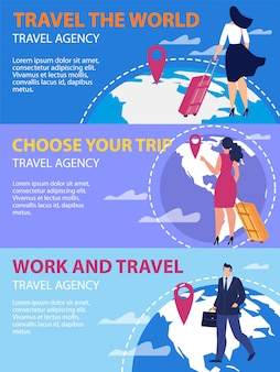 Travel agency flat vector promotion banners set