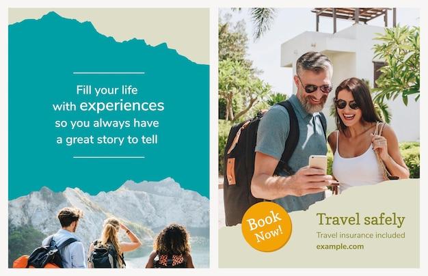 Vettore del modello dell'aletta di filatoio dell'agenzia di viaggi con la foto di vacanza in stile moderno