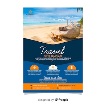 Travel agency flyer template with photo