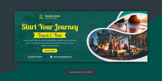 Travel agency holiday vacation facebook cover template design and web banne