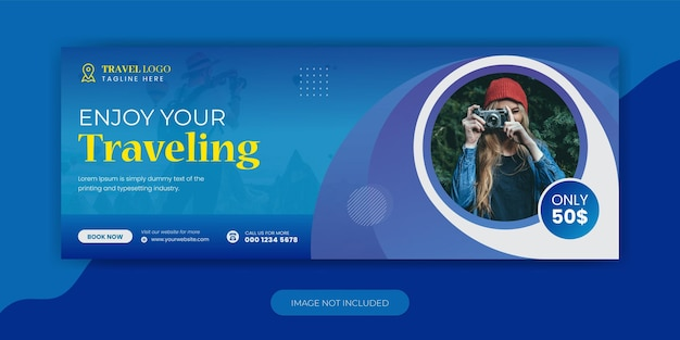 Travel agency holiday vacation facebook cover template design