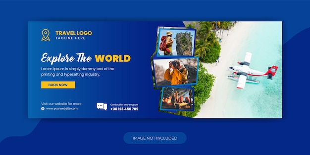 Travel agency holiday vacation facebook timeline cover template design