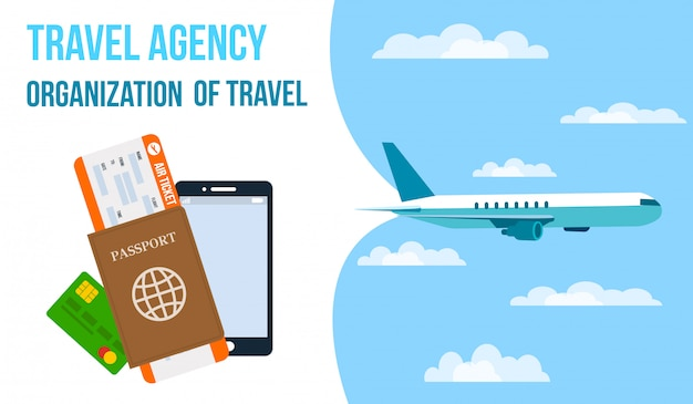 Travel agency horizontal vector banner.