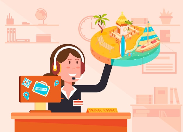 Travel agency illustration with a female agent wearing a headset