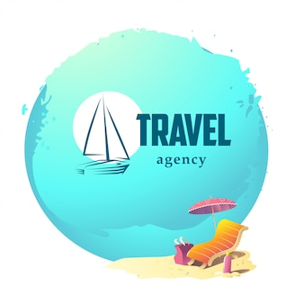Travel agency logo .   illustration.