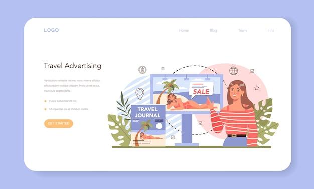Веб-баннер или целевая страница маркетинговой кампании туристического агентства