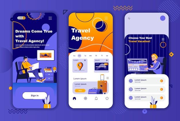 소셜 네트워크 스토리를위한 여행사 모바일 앱 화면 템플릿