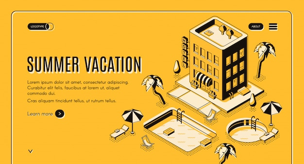 Travel agency, online booking service isometric vector web banner with beach lounge chairs under umbrella