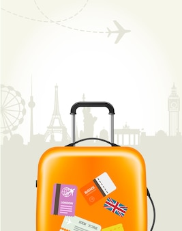 Travel agency poster with plastic suitcase and european landmarks - tourism poster