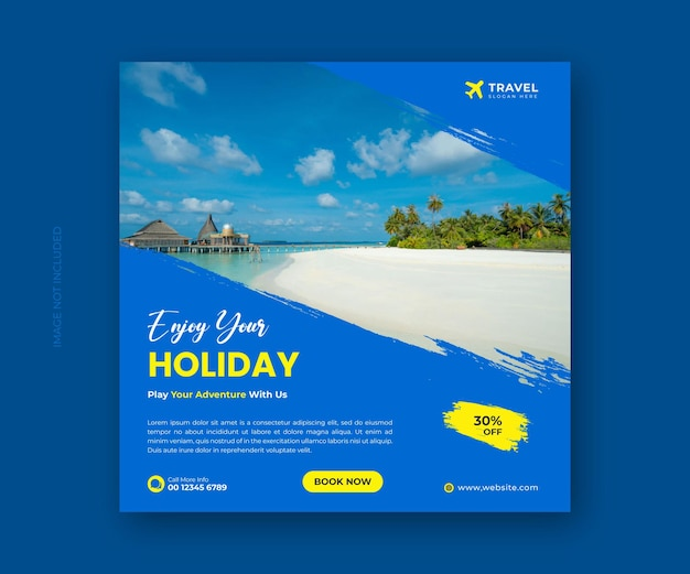 Travel agency social media banner template and holiday vacation instagram post banner