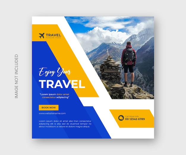 Travel agency social media post banner or tour holiday vacation post template