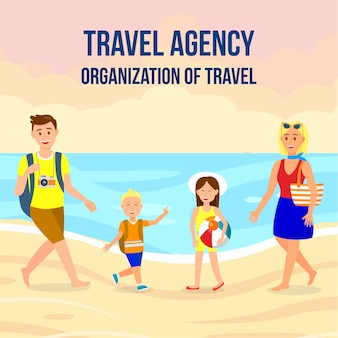 Travel agency square banner layout with lettering