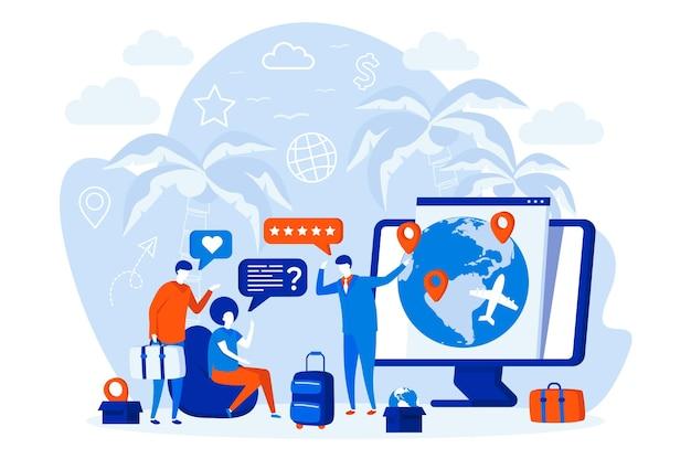 人々のキャラクターと旅行代理店のウェブデザイン