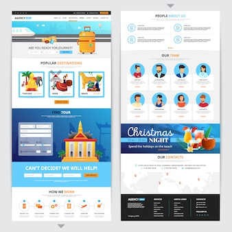 Travel agency web page design with popular destination symbols flat isolated vector illustration