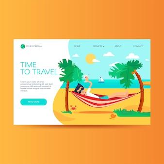 旅行代理店のウェブサイトのホームページテンプレート。夏休み、トロピカルリゾート。観光ランディングページ