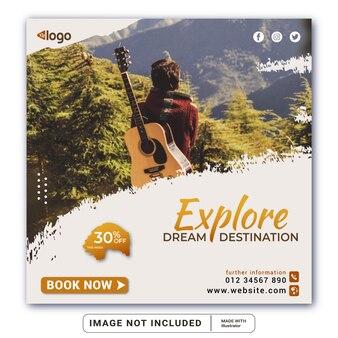 Туристический агент и туристический квадратный баннер или шаблон сообщения в социальных сетях