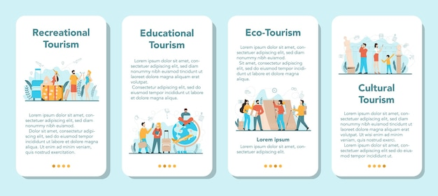 Travel agent mobile application banner set. office worker selling tour, cruise, airway or railway tickets. vacation organization agency, hotel booking.