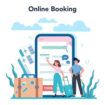 Travel agent online service or platform. office worker selling tour