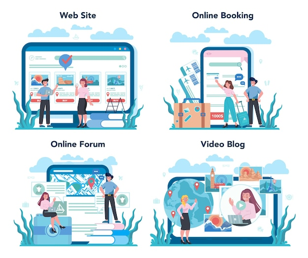 Travel agent online service or platform set. office worker selling tour