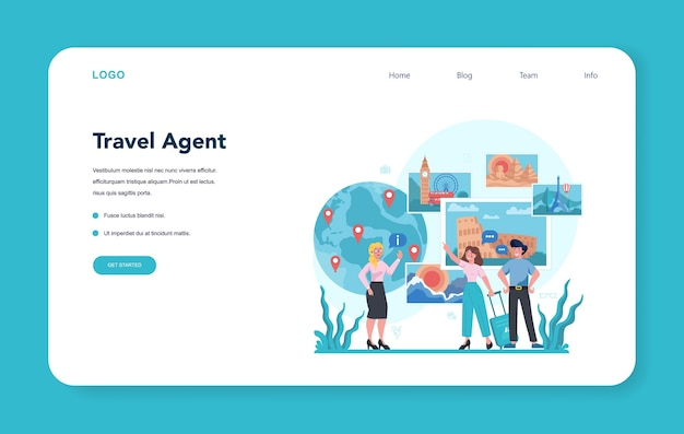 Travel agent web banner or landing page. office worker selling tour, cruise, airway or railway tickets. vacation organization agency, hotel booking.