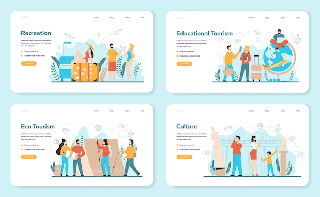 Travel agent web banner or landing page set. office worker selling tour, cruise, airway or railway tickets. vacation organization agency, hotel booking.