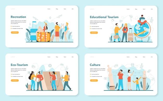旅行代理店のwebバナーまたはランディングページセット。ツアー、クルーズ、気道または鉄道のチケットを販売するサラリーマン。休暇組織代理店、ホテル予約。