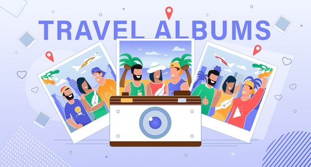 Travel albums hosting service flat  banner