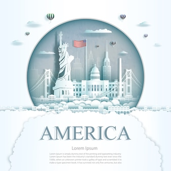 Travel america monument city modern building in circle texture background.