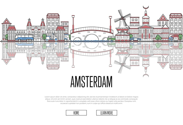 Travel amsterdam template in linear style