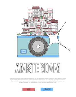 Travel amsterdam webpage with camera