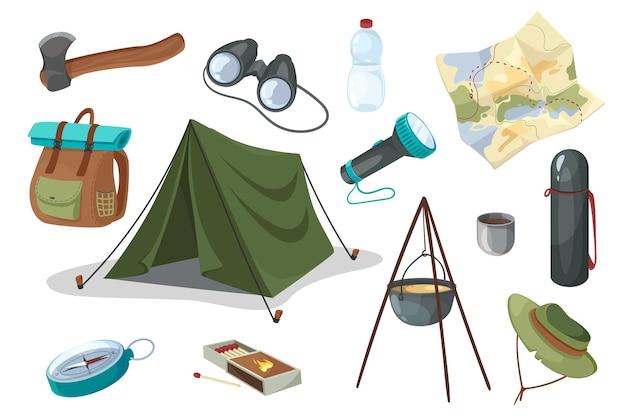 여행 및 하이킹 장비 디자인 요소 집합입니다. 텐트, 도끼, 쌍안경, 병, 랜턴, 지도, 보온병, 배낭, 나침반의 컬렉션입니다. 평면 만화 스타일의 벡터 일러스트 레이 션 고립 된 개체